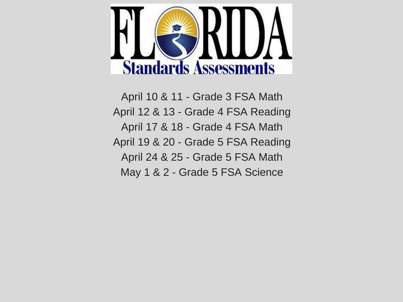 FSA Testing Schedule 2017