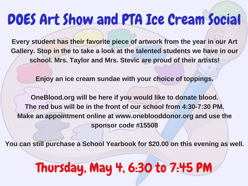 DOES Art Show and PTA Ice Cream Social