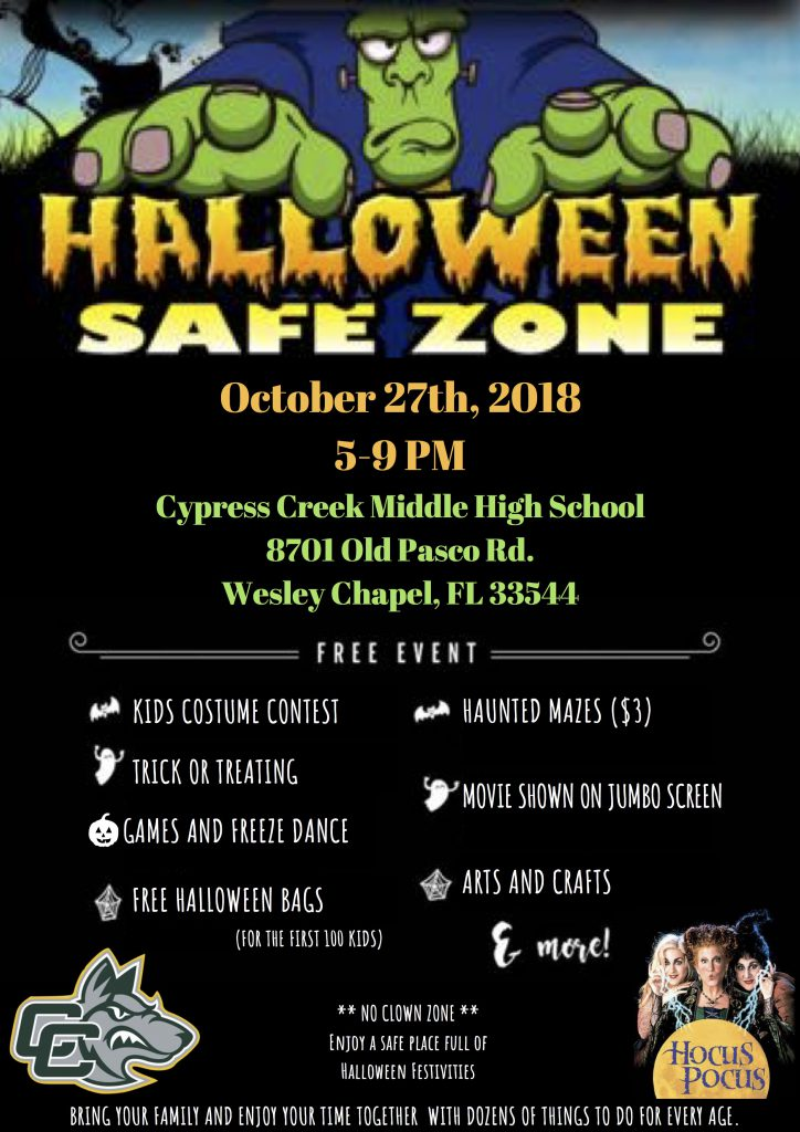 Halloween Zone at Cypress Creek High October 27th 5-9 p.m.