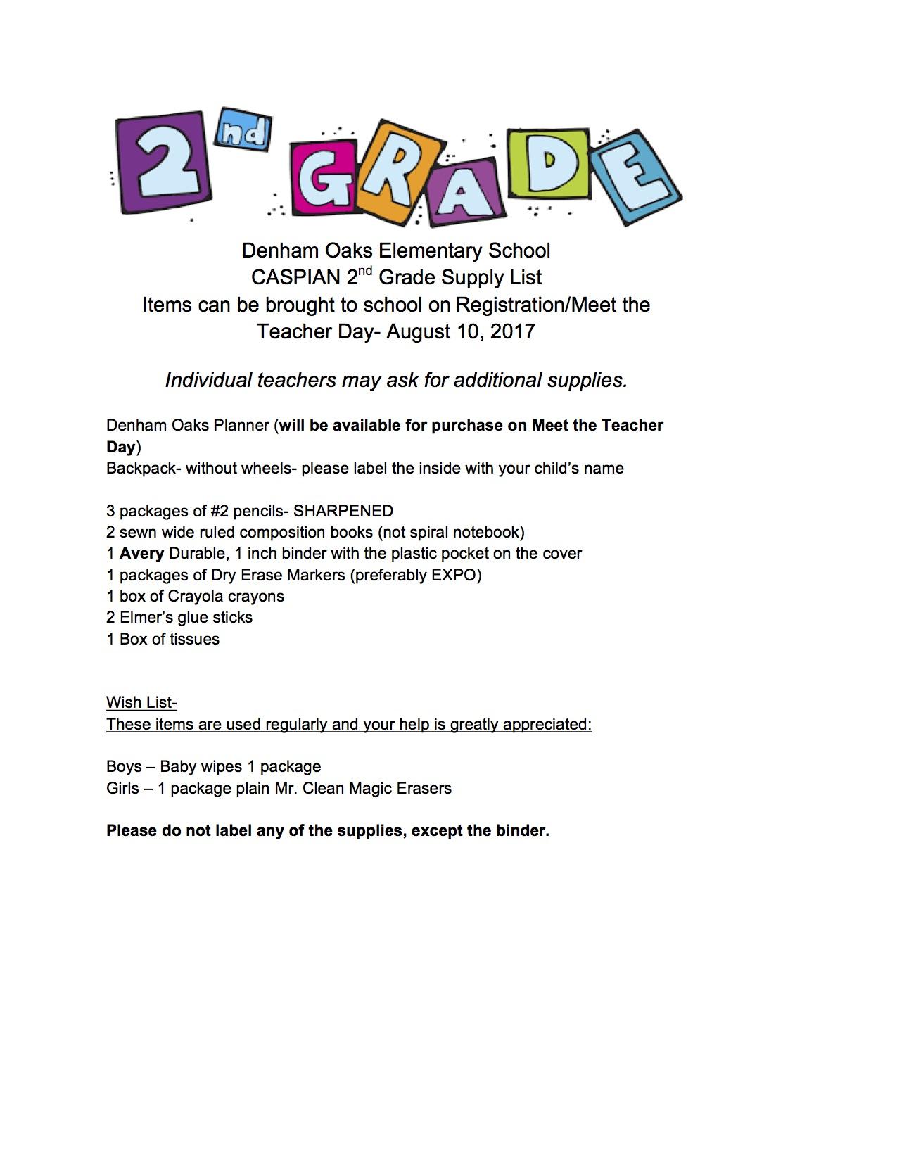 School Supply List For Teachers Lexutk